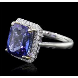 14KT White Gold 6.80ct Tanzanite and Diamond Ring