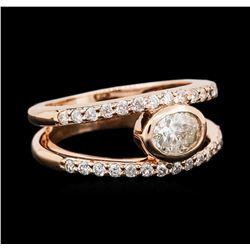 14KT Rose Gold 0.96ctw Diamond Ring