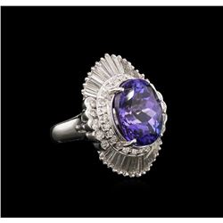 8.96ct Tanzanite and Diamond Ring - Platinum