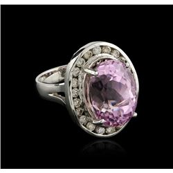 14KT White Gold 16.20ct Kunzite and Diamond Ring
