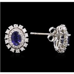 14KT White Gold 1.04ctw Sapphire and Diamond Earrings