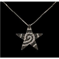 0.64ctw Black Diamond Star Pendant With Chain - 18KT White Gold