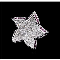 0.52ctw Pink Sapphire and Diamond Star Pendant - 18KT White Gold