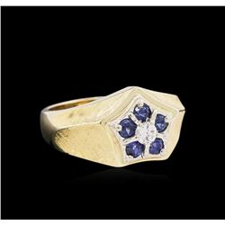 0.65ctw Blue Sapphire and Diamond Ring - 14KT Two-Tone Gold