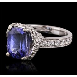 18KT White Gold 3.06ct Tanzanite and Diamond Ring