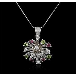 14KT White Gold 2.52ctw Tourmaline and Diamond Pendant With Chain