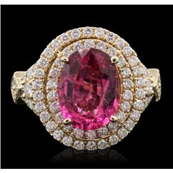 14KT Yellow Gold 3.17ct Tourmaline and Diamond Ring