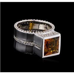 Crayola 3.50ct Citrine and White Sapphire Ring - .925 Silver