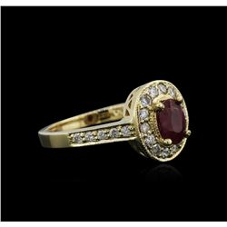 14KT Yellow Gold 0.82ct Ruby and Diamond Ring