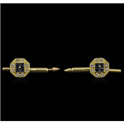 0.58ctw Blue Sapphire and Diamond Shirt Studs - 14KT Yellow Gold