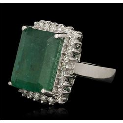 14.32ct Emerald and Diamond Ring - 14KT White Gold