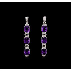 Crayola 15.60ctw Amethyst and White Sapphire Earrings - .925 Silver
