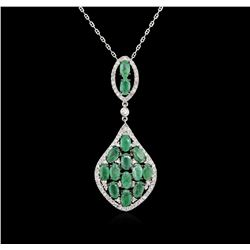 3.10ctw Emerald and Diamond Pendant With Chain - 14KT White Gold