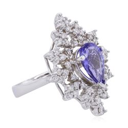 14KT White Gold 2.45ct Tanzanite and Diamond Ring