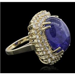 14KT Yellow Gold 19.72ct Tanzanite and Diamond Ring