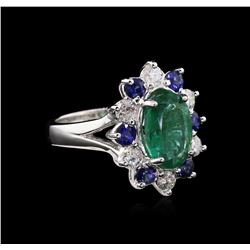 2.65ct Emerald, Sapphire and Diamond Ring - 14KT White Gold