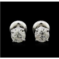 1.35ctw Diamond Stud Earrings - 14KT White Gold