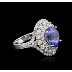 14KT White Gold 3.40ct Tanzanite and Diamond Ring