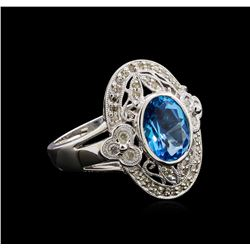 3.50ct Blue Topaz and Diamond Ring - 14KT White Gold