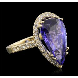 14KT Yellow Gold GIA Certified 8.69ct Tanzanite and Diamond Ring