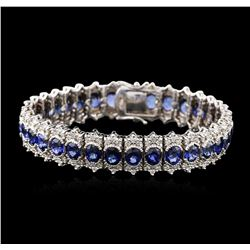 14KT White Gold 20.79ctw Sapphire and Diamond Bracelet