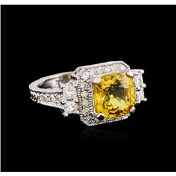 14KT White Gold 4.72ct Yellow Sapphire and Diamond Ring
