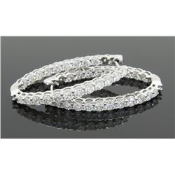 3.12ctw Diamond Hoop Earrings - 14KT White Gold