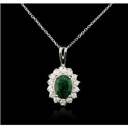 14KT White Gold 1.77ct Emerald and Diamond Pendant With Chain