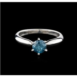14KT White Gold 0.67ct Round Cut Fancy Blue Diamond Solitaire Ring