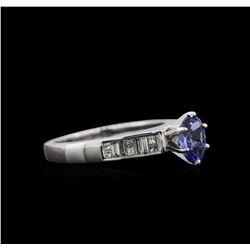 0.80ct Tanzanite and Diamond Ring - 14KT White Gold
