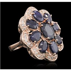 14KT Rose Gold 10.37ctw Sapphire Ring