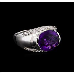 Crayola 3.95ct Amethyst and White Sapphire Ring - .925 Silver