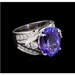 10.15ct Tanzanite and Diamond Ring - 14KT White Gold
