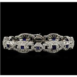 3.95ctw Blue Sapphire and Diamond Bracelet - 18KT White Gold