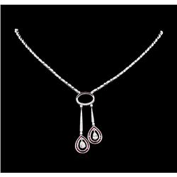 1.20ctw Ruby and Diamond Necklace - 18KT White Gold