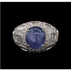GIA Cert 8.75ct Star Sapphire and Diamond Ring - 18KT White Gold