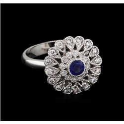 0.44ct Blue Sapphire and Diamond Ring - 14KT White Gold