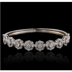 14KT White Gold 2.74ctw Diamond Bangle Bracelet
