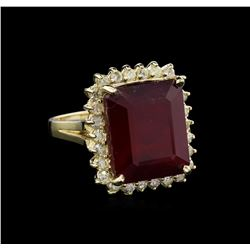 15.48ct Ruby and Diamond Ring - 14KT Yellow Gold