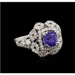 14KT White Gold 1.37ct Tanzanite and Diamond Ring