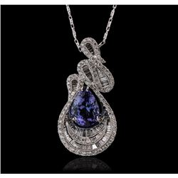 18KT White Gold 4.54ct Tanzanite and Diamond Pendant With Chain