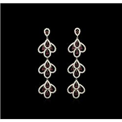 3.30ctw Ruby and Diamond Earrings Dangle - 18KT White Gold