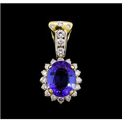 4.10ct Tanzanite and Diamond Pendant - 18KT Yellow Gold