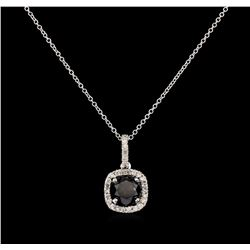 3.18ct Black Diamond Pendant - 14KT White Gold