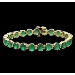 16.63ctw Emerald and Diamond Bracelet - 14KT Yellow Gold