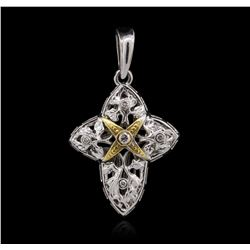 14KT Two-Tone Gold 0.09ctw Diamond Pendant