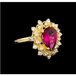 1.67ct Pink Topaz and Diamond Ring - 14KT Yellow Gold