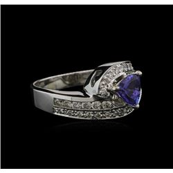 0.89ct Tanzanite and Diamond Ring -14KT White Gold