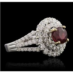 18KT White Gold 1.43ct Ruby and Diamond Ring