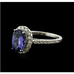 18KT White Gold 1.69ct Tanzanite and Diamond Ring